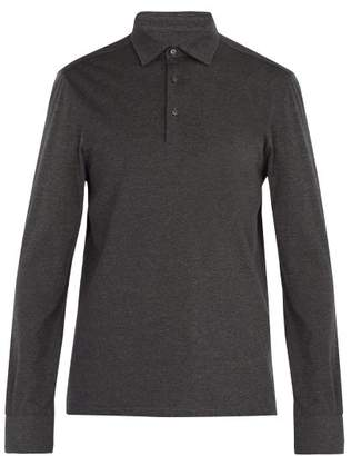 Ermenegildo Zegna Long Sleeved Wool And Cotton Blend Polo Shirt - Mens - Grey