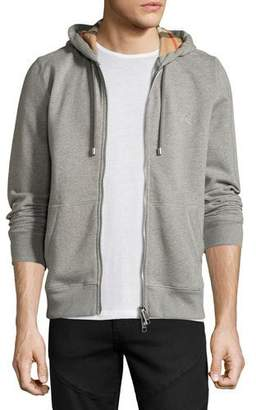 Burberry Claredon Jersey Hoodie w/Check Lining, Pale Gray $325 thestylecure.com