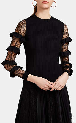 Valentino Women's Lace-Sleeve Rib-Knit Top - Black