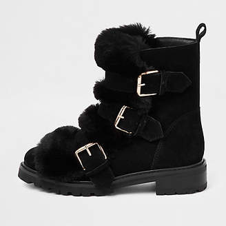 River Island Black faux fur buckle chunky boots