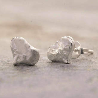 Otis Jaxon Silver Jewellery Heart Textured Silver Heart Earrings