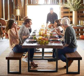 Pottery Barn Griffin Reclaimed Table & Bench 3-Piece Dining Set