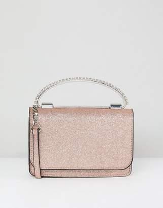 Asos Glitter Boxy Clutch Bag With Gem Grab Handle
