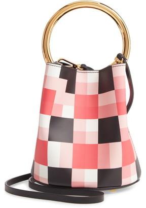 Marni Check Top Handle Leather Bucket Bag