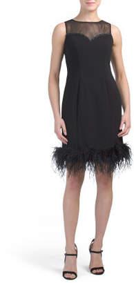 Illusion Dress With Feather Hem