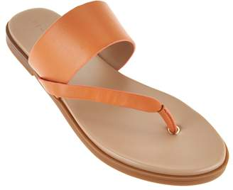Halston H By H by Leather Sandals with Wooden Accent - Addie