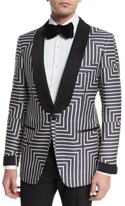 TOM FORD Buckley Base Geometric-Print Suit Jacket, Black/White $5,690 thestylecure.com