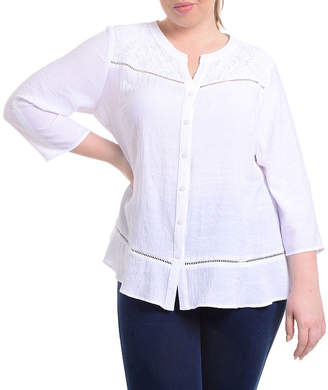 Asstd National Brand NY Collection Lace Yoke Button Front Blouse - Plus