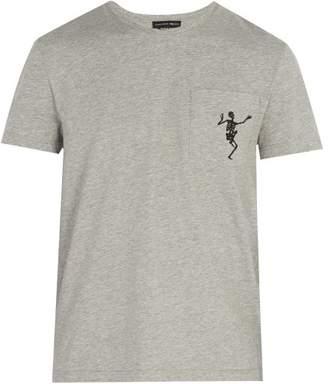 Alexander McQueen Dancing Skeleton Print Cotton T Shirt - Mens - Light Grey