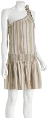 BCBGirls sandstone striped 'Emil' one-shoulder dress