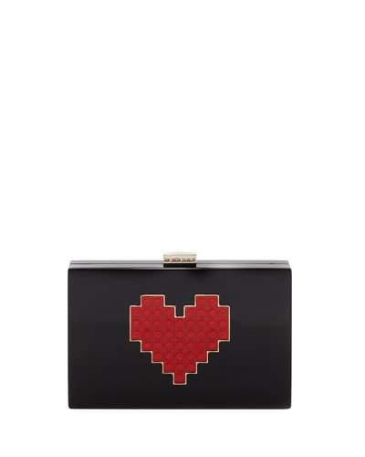Les Petits Joueurs Grace Lolita Heart Clutch Bag, Black/Red