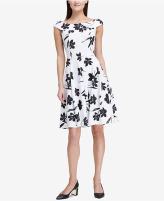 DKNY Printed Off-The-Shoulder Fit & Flare Dress, Created for Macy's