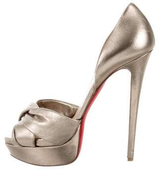 Christian Louboutin Metallic Peep-Toe Pumps
