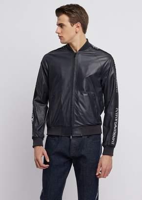 Emporio Armani Soft Nappa Leather Bomber Jacket With Jacquard Logo Bands