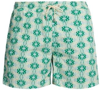 Le Sirenuse Le Sirenuse, Positano - Double Maze Printed Swim Shorts - Mens - Green Multi