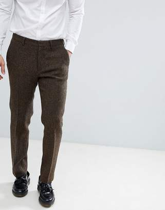 Asos DESIGN slim suit pants in 100% wool Harris Tweed in brown herringbone