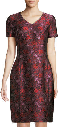 Oscar de la Renta Floral Short-Sleeve Midi Dress