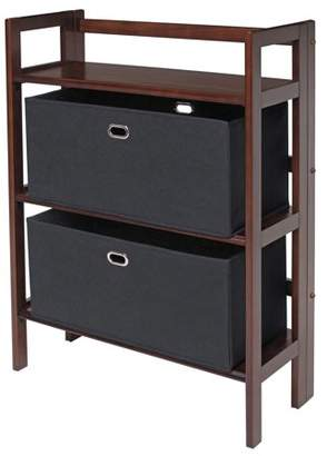 Winsome Wood Torino 3-PC Folding Storage Shelf Set w/ Fabric Basket
