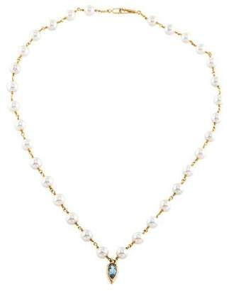 14K Aquamarine & Pearl Pendant Necklace