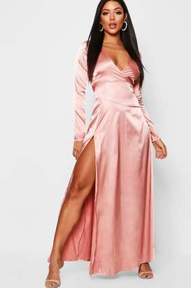 boohoo Satin Wrap Detail Long Sleeve Maxi Dress
