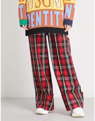 MSGM Tartan wide-leg woven trousers