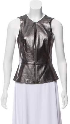 Trina Turk Leather Peplum Top