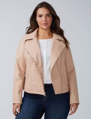 Ruffle Faux Leather Moto Jacket