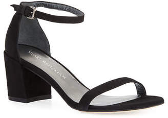 Stuart Weitzman Simple Suede Chunky-Heel City Sandals