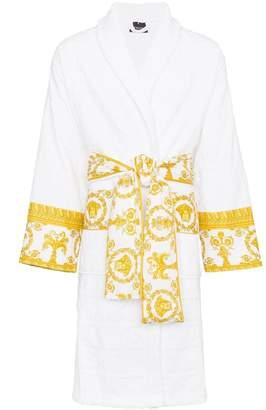 Versace (ヴェルサーチ) - Versace white Barocco logo print baroque cotton bath robe