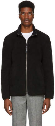 Stutterheim Reversible Black Fleece Varby Zip Jacket