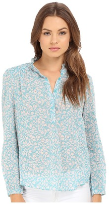 Rebecca Taylor Provence Block Print Long Sleeve Top $250 thestylecure.com