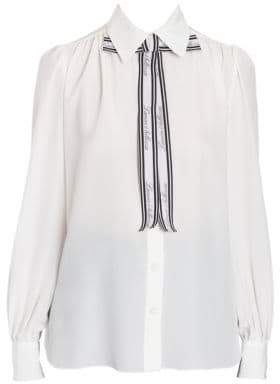 Dolce & Gabbana Dolce& Gabbana Dolce& Gabbana Women's Silk Tie Neck Blouse - White - Size 42 (6)