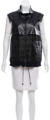 J. Mendel Leather-Accented Zip-Up Vest