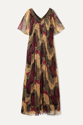 Mes Demoiselles Savannah Printed Crinkled-chiffon Maxi Dress - Brown