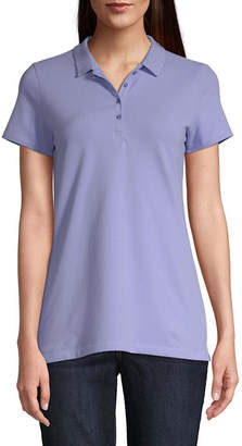 ST. JOHN'S BAY Womens Collar Neck Short Sleeve Knit Polo Shirt