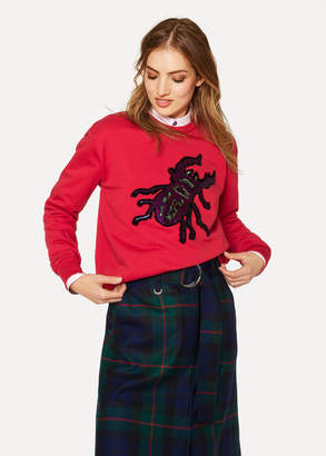 Paul Smith Women's Red Sequin 'Beetle' Cotton Sweatshirt