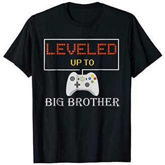 Leveled Up To Big Brother T Shirt New Brother Gamer Gift