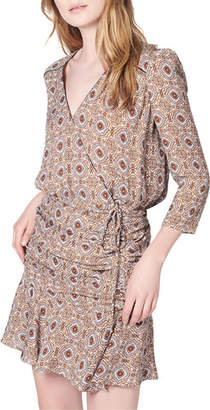 Veronica Beard Alamo Long-Sleeve Printed Ruched Silk Dress