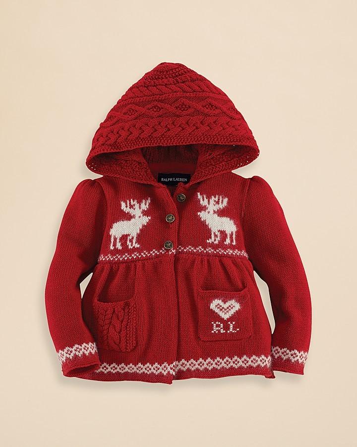 Ralph Lauren Infant Girls' Hooded Reindeer Cardigan - Sizes 9-24 Months