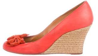 Lanvin Leather Round-Toe Espadrille Wedges