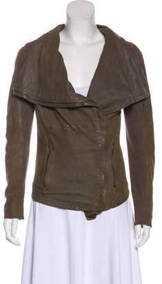 Muu Baa Muubaa Leather Draped Collar Jacket