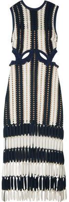 Self-Portrait - Striped Crochet-knit Midi Dress - Navy $305 thestylecure.com