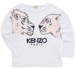 Kenzo Little Girl's& Girl's Long-Sleeve Tiger Tee