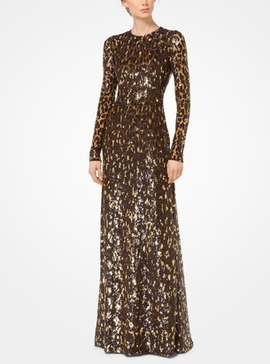 Michael Kors Leopard Sequined Stretch-Tulle Gown