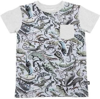 Molo Animals Print Cotton Jersey T-Shirt