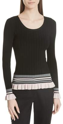 Milly Stripe Rib Knit Pullover