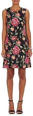 Dolce & Gabbana WOMEN'S ROSE-PRINT COTTON-BLEND SLEEVELESS SHEATH DRESS