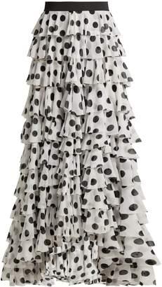 Norma Kamali Tiered polka-dot crepe maxi skirt