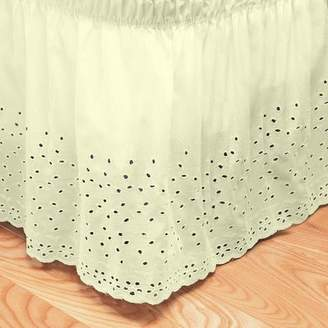 Sweet Home Collection Embroidered Floral Eyelet Polyester Dust Ruffle Bed Skirt