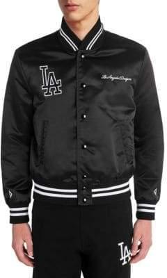 Marcelo Burlon County of Milan Men's LA Dodgers Satin Bomber Jacket - Black White - Size Medium